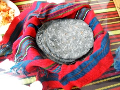 Always tortillas, but these made with black corn flour