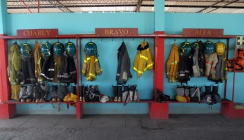 The bomberos were kind to let cyclists camp safely along the Pan-American highway, El Salvador and Honduras